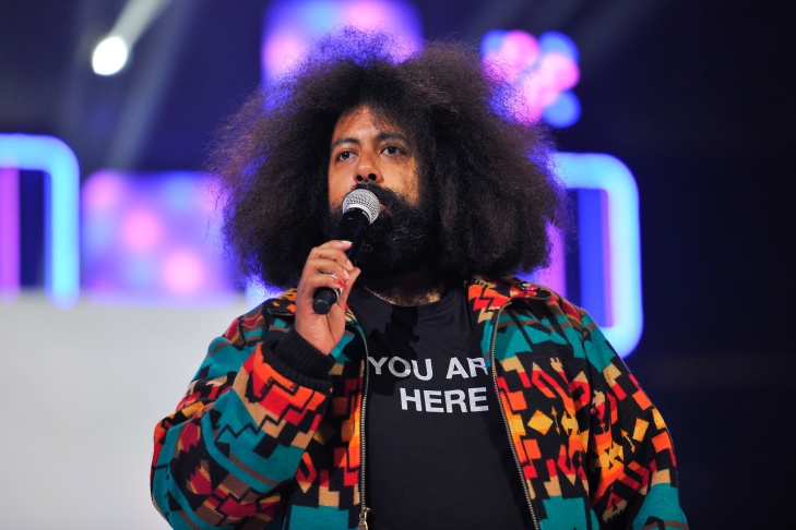 Reggie Watts in Oakland, CA performs to 16,000 students and educators at the first We Day California at Oracle Arena on March 26, 2014 in Oakland.