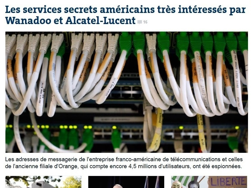 "<em>Le Monde</em> <a href=""http://www.lemonde.fr/technologies/article/2013/10/21/les-services-secrets-americains-tres-interesses-par-wanadoo-et-alcatel-lucent_3499762_651865.html"">has the scoop</a> on allegations about NSA spying on French phone calls."