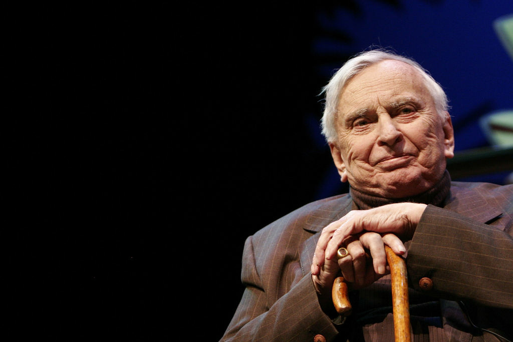 Author Gore Vidal appears in conversation with writer Jon Wiener at the 12th Annual L.A. Times Festival of Books in Royce Hall on the U.C.L.A. campus on April 28, 2007 in Los Angeles, California.