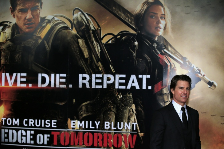 Caption:US actor Tom Cruise arrives for the World Premiere of the film 'Edge of Tomorrow' at the BFI IMAX cinema in London on May 28, 2014.