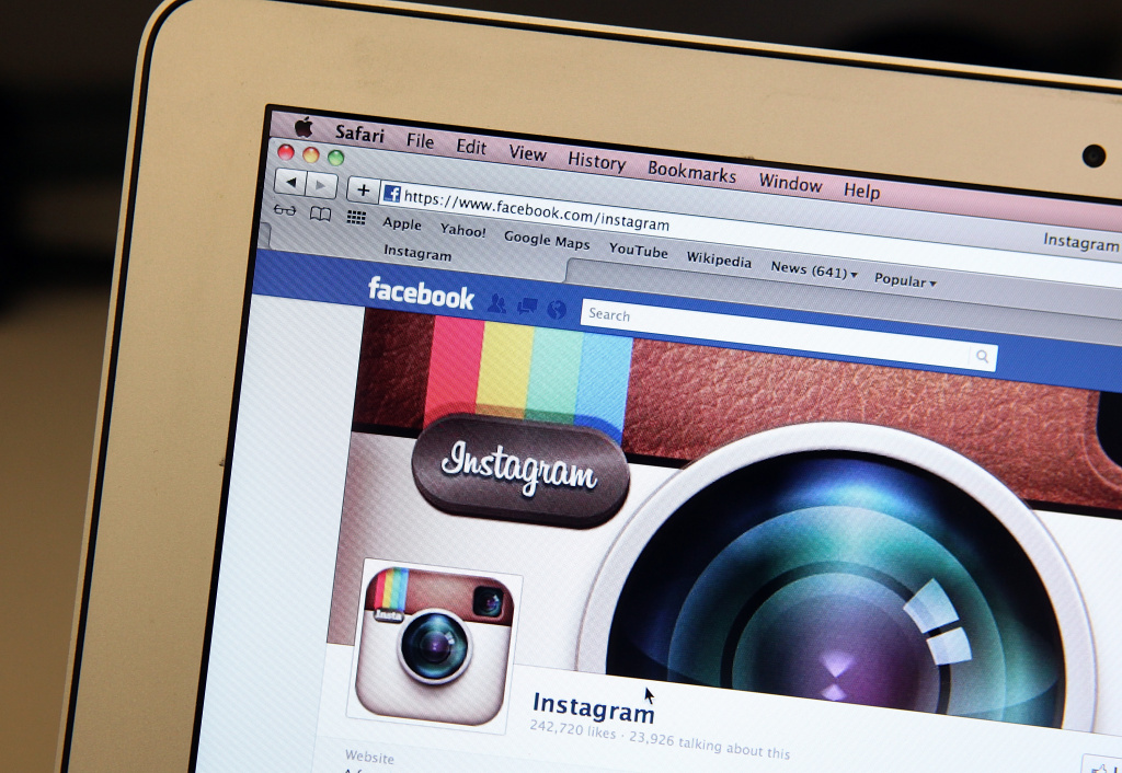 In this photo illustration, the photo-sharing app Instagram fan page is seen on the Facebook website on the Apple Safari web browser on April 9, 2012 in New York City.