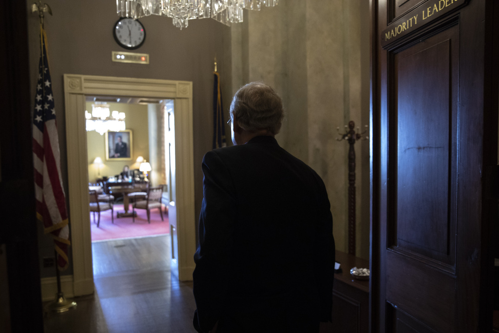 Senate Majority Leader Mitch McConnell (R-KY) leave the Senate floor and walks to his office on Capitol Hill, October 4, 2018 in Washington, DC.