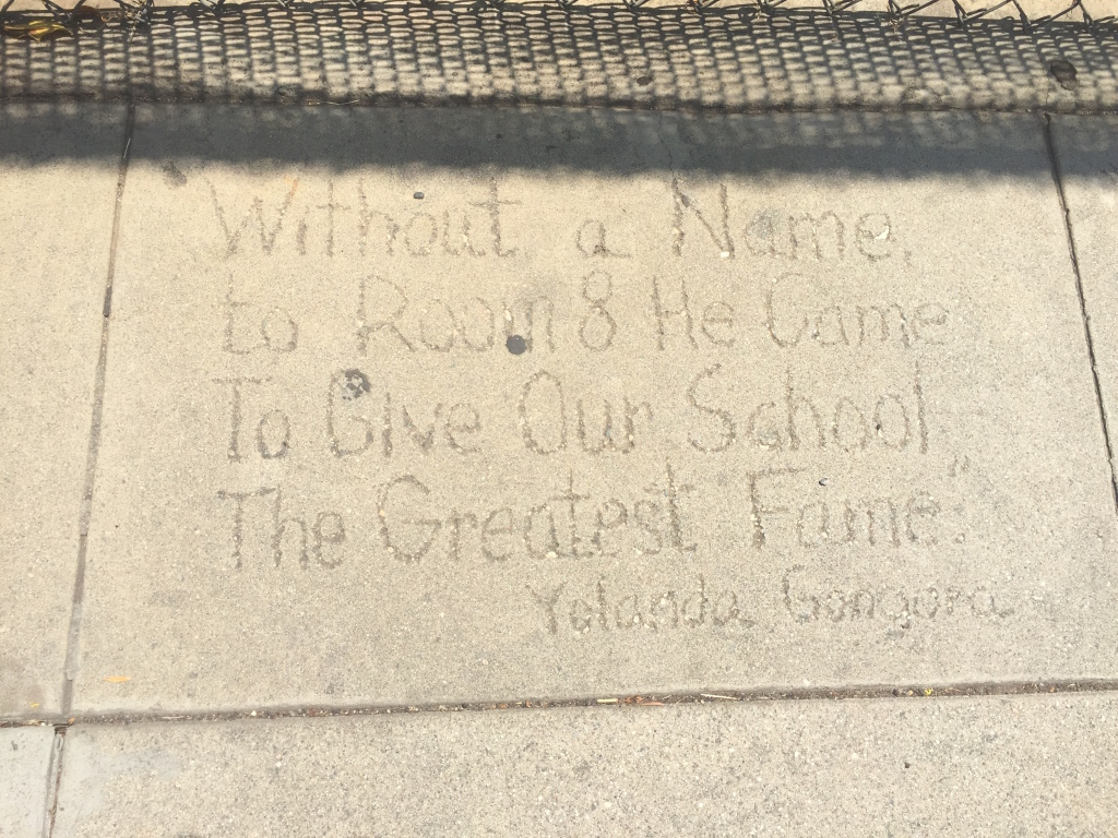 """Loving message for Room 8. It reads, """"Without a name, to Room 8 he came, to give our school the greatest fame."""""""