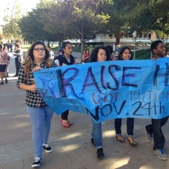 University of California, Irvine, students march on campus Monday to protest tuition increases approved by the UC regents.