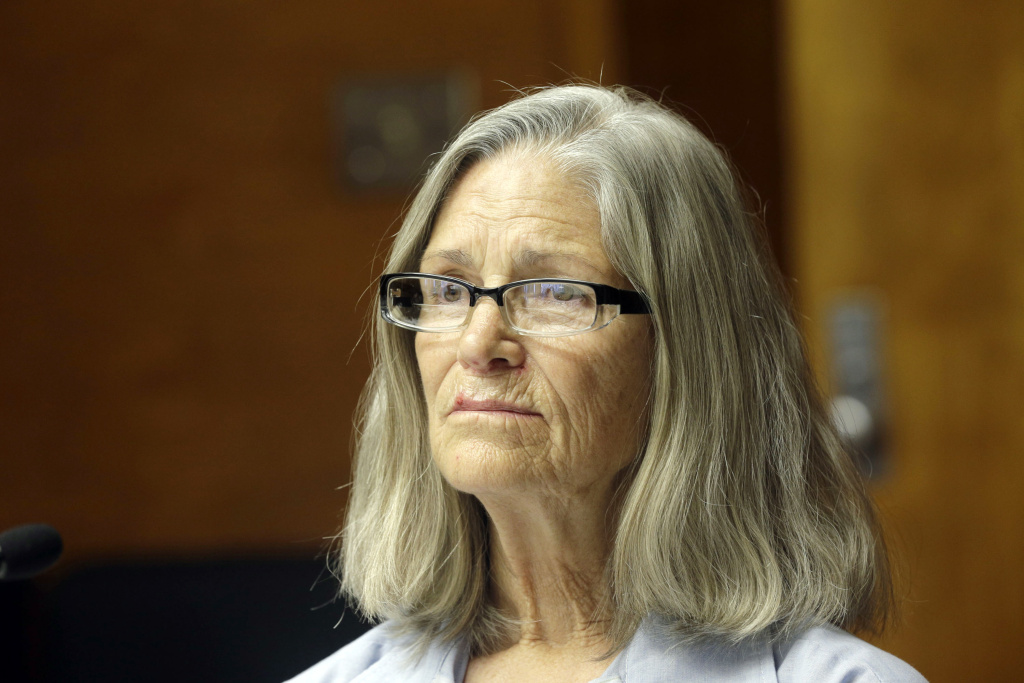 File: Former Charles Manson follower Leslie Van Houten is seen during a hearing before the California Board of Parole Hearings at the California Institution for Women in Chino, Calif., Thursday, April 14, 2016.