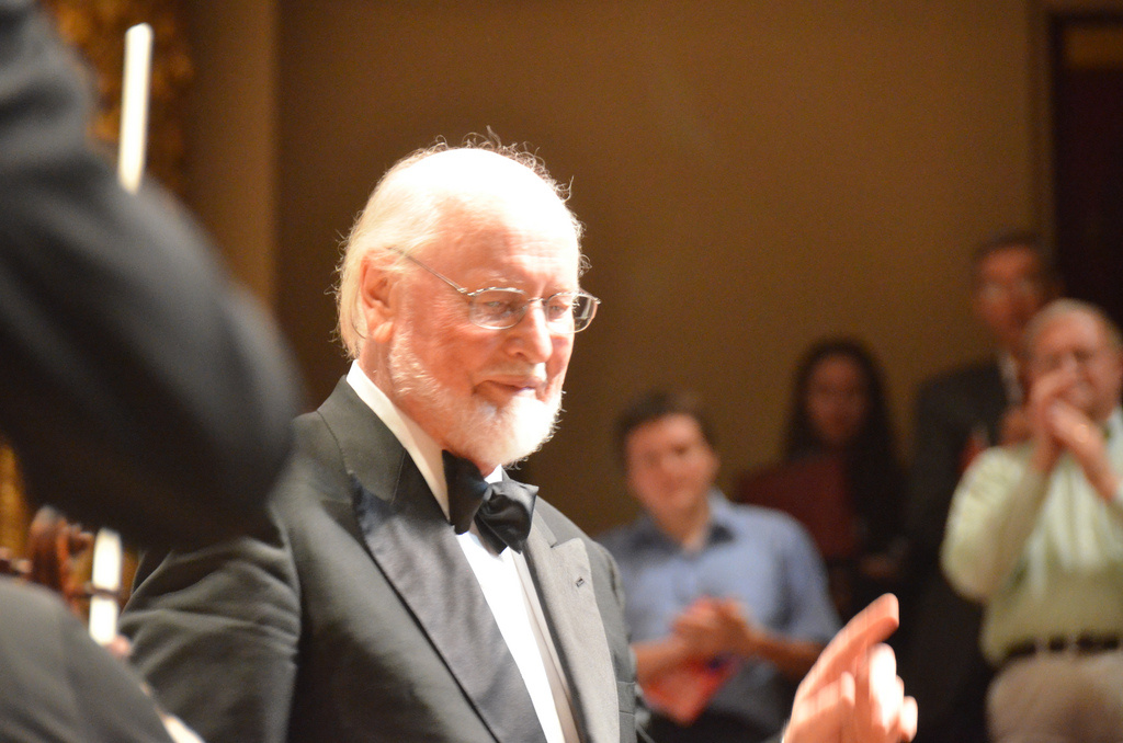 Film composer John Williams is seen on stage in 2011.