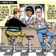 A political cartoon featuring former Massachusetts Governor Mit Romney drawn by editorial cartoonist David Horsey.