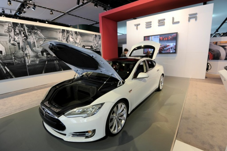 Tesla Model S electric car on display du