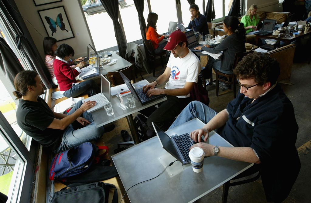 Customers at the Canvas Cafe take advantage of free wireless 'wi-fi' internet access in San Francisco.