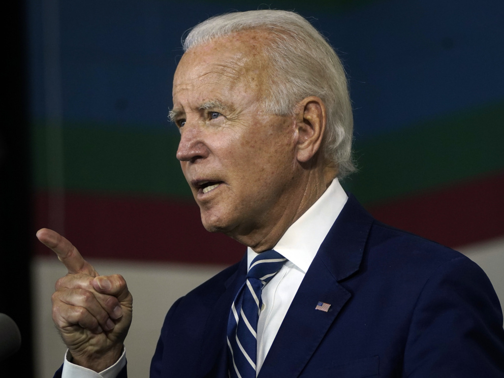 Joe Biden speaks about economic recovery during a campaign event at Colonial Early Education Program at the Colwyck Center, in July. In an interview with Stephen Colbert, the president-elect defended his son, Hunter, whose tax affairs are under investigation.
