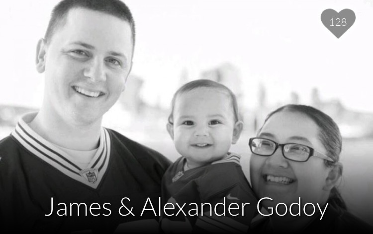 Aurora Godoy, a victim of the San Bernardino shooting, with husband James and son Alexander.
