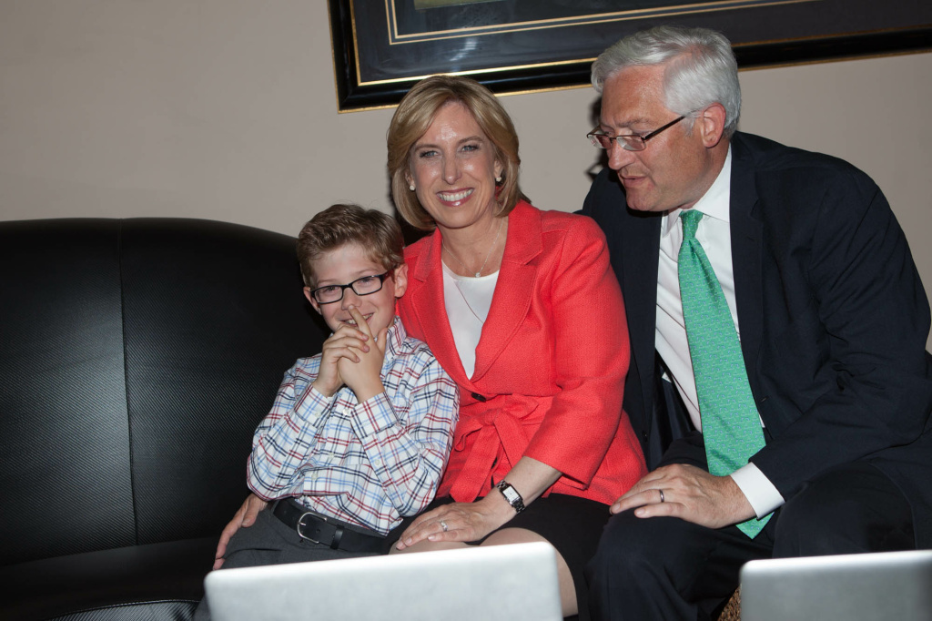 City Controller Wendy Greuel monitored election returns with her husband Dean Schramm and her nine-year-old son Thomas Tuesday evening. On Wednesday morning, she conceded to Eric Garcetti.