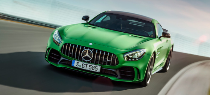 The new Mercedes Benz AMG-GT-R is decked out in Greenery, Pantone's color for 2017.