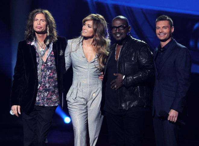 Singers Steven Tyler, Jennifer Lopez, musician Randy Jackson and host Ryan Seacrest appear onstage at a press conference to officially announce the season 10