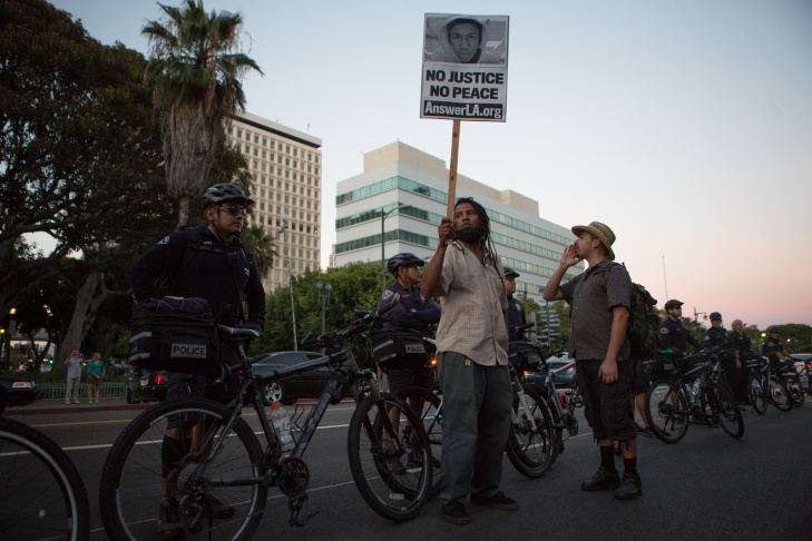 George Zimmerman Protests Los Angeles Trayvon Martin LAPD
