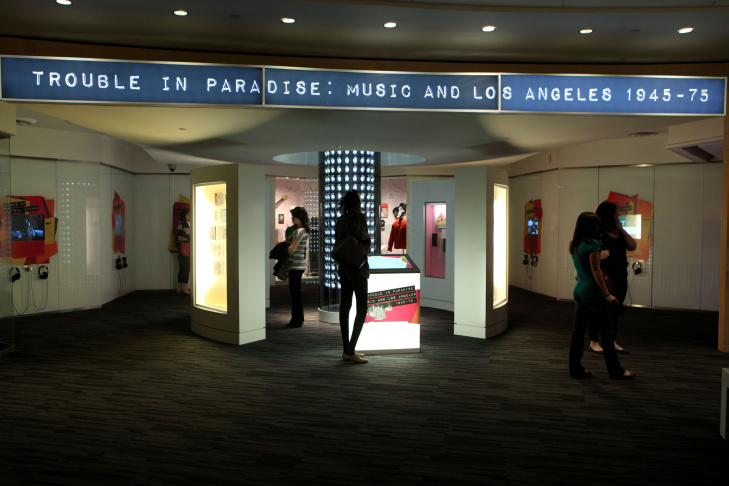 A general view of atmosphere at the exhibit launch for Trouble In Paradise: Music and Los Angeles, 1945-1975 at The Grammy Museum on Feb. 22, 2012, in L.A.