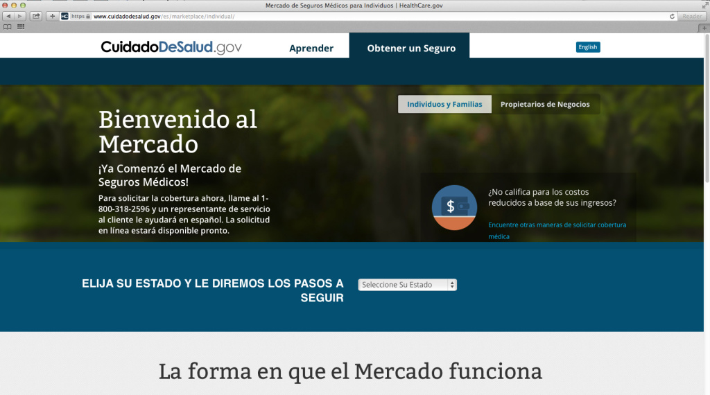 This screenshot made Nov. 26, 2013, shows the U.S. Department of Health and Human Services' web page for the Spanish language version HealthCare.gov.