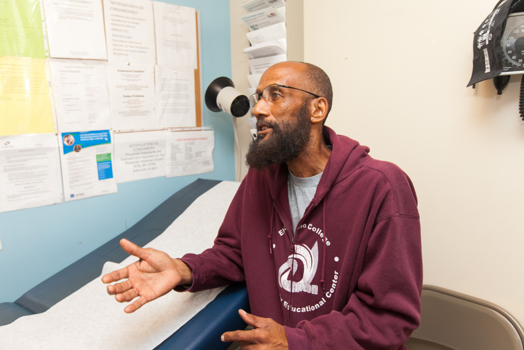 Anthony Bellard, 55, of Compton waits to speak to his doctor at St. John's. He recently began taking Harvoni, one of the drugs that treats hepatitis C.