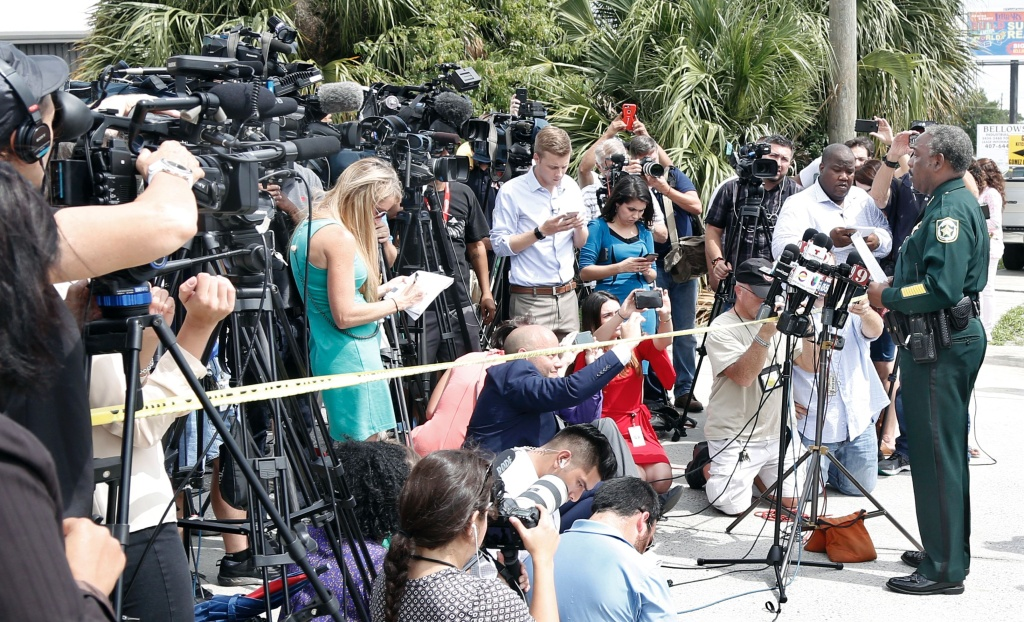 Orange County Sheriff Jerry L. Demings briefs the media at the scene of a shooting in Orlando, Florida on June 5, 2017.