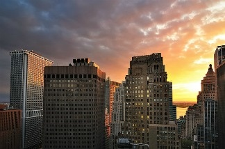 Sunset over Lower Manhattan, New York City.