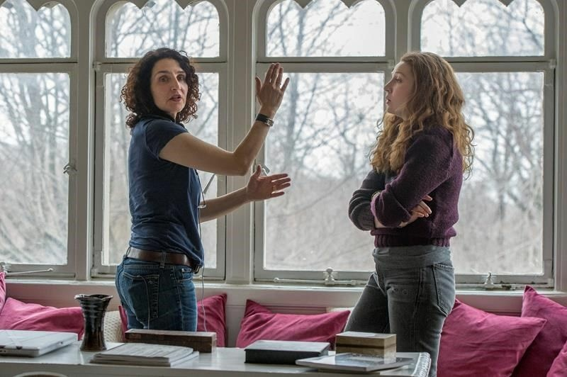 Writer/director Tamara Jenkins (left) with actress Kayli Carter on the set of