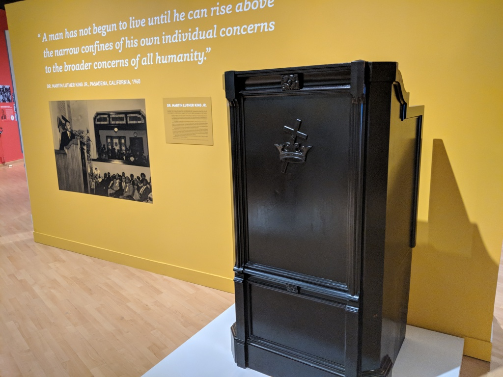 This pulpit is taken from Friendship Baptist Church in Pasadena, and is currently on display at the exhibit