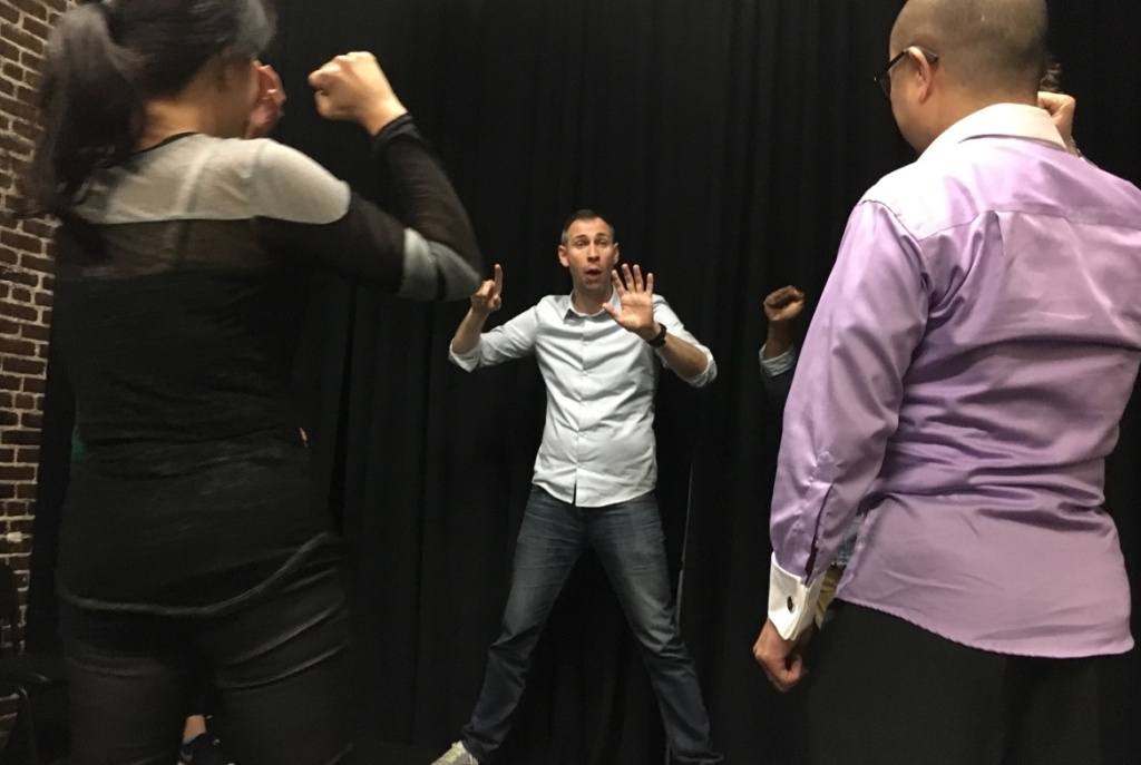 B.J. Lange, an Air Force veteran, teaches improvisation to other veterans during the first class at Second City on March 18, 2017. The Saturday class culminates in a performance in April.