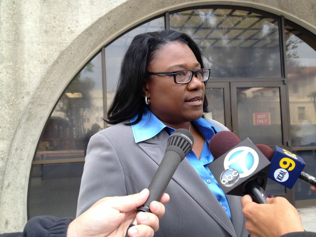 McDade's family attorney, Caree Harper talks to media outside the Pasadena courthouse shortly after the police shooting of Kendrec McDade, 19.