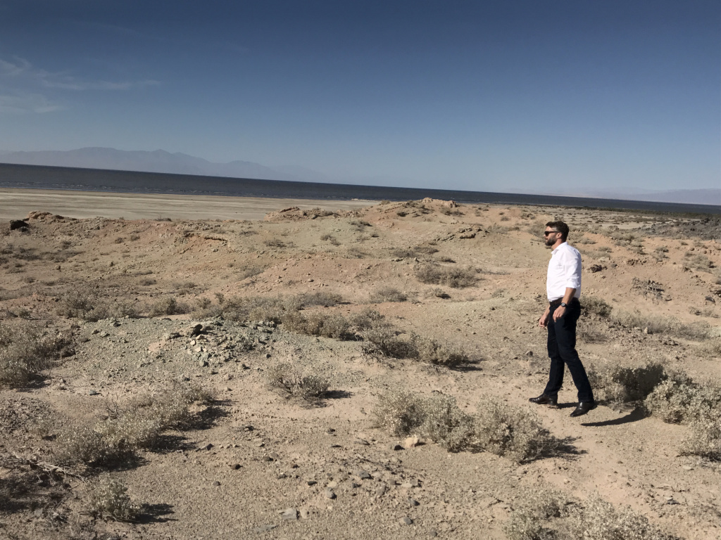 Jason Czapla, principal engineer for Controlled Thermal Resources, surveys the site where the company's Hell's Kitchen Plant will be built.
