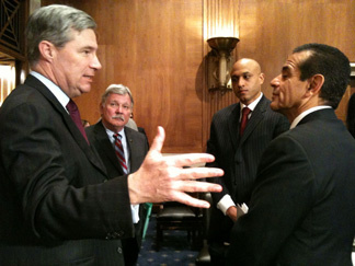 Los Angeles Mayor Antonio Villaigosa makes pitch to Senator Sheldon Whitehouse from Rhode Island.