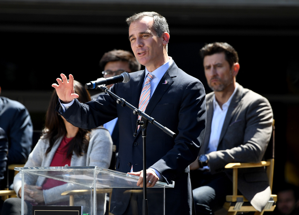 The Mayor of Los Angeles Eric Garcetti speaks to fans and media during the ribbon cutting ceremony for the new home of the Los Angeles FC at Banc of California Stadium on April 18, 2018 in Los Angeles, California.