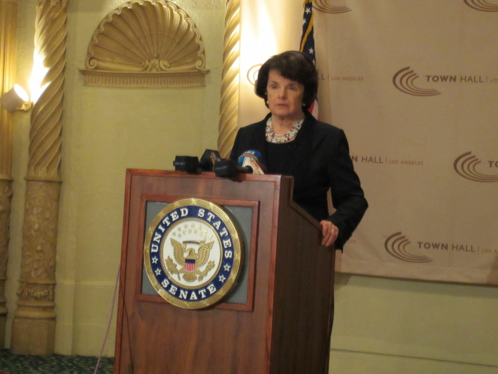 Sen. Dianne Feinstein, at the Millennium Biltmore Hotel in Downtown Los Angeles, speaks at a Town Hall event.