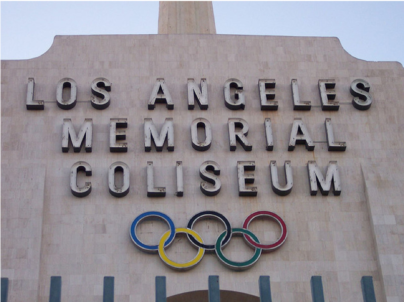 The exterior of the Los Angeles Memorial Coliseum.