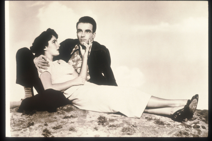 Actors Elizabeth Taylor And Montgomery Clift Pose In An Old Still From The Film 'A Place In The Sun', 1951. The Film Tells The Story Of A Young Man And His Quest For A Place In High Society By Whatever Means Possible.