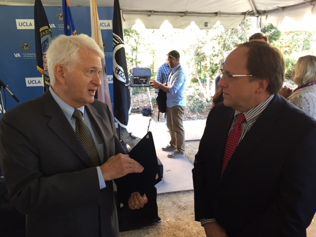 UCLA Chancellor Gene Block speaks with Steve Young, Deputy Undersecretary for Health for Operations and Management, U.S. Department of Veterans Affairs.