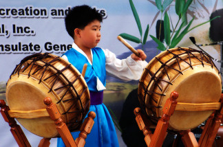 Southern California performers played traditional musical instruments and danced to music from Asia and the Pacific Islands at the Lotus Festival at Echo Park Lake in Los Angeles, California on July 10 and 11, 2010.