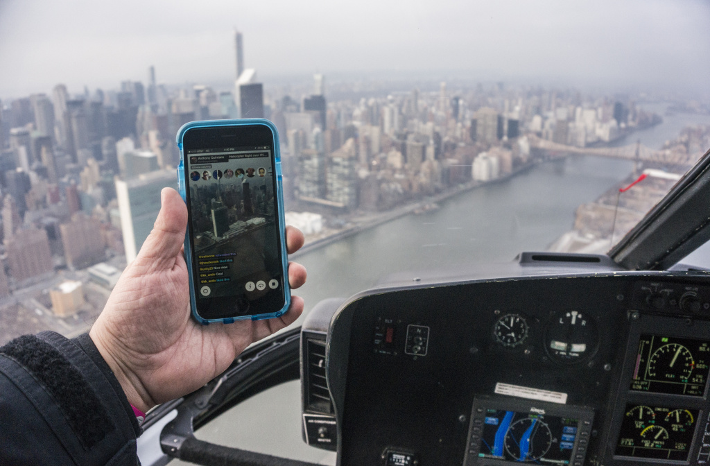 A live video stream using the Meerkat App stream from a helicopter over New York City on March 21, 2015.