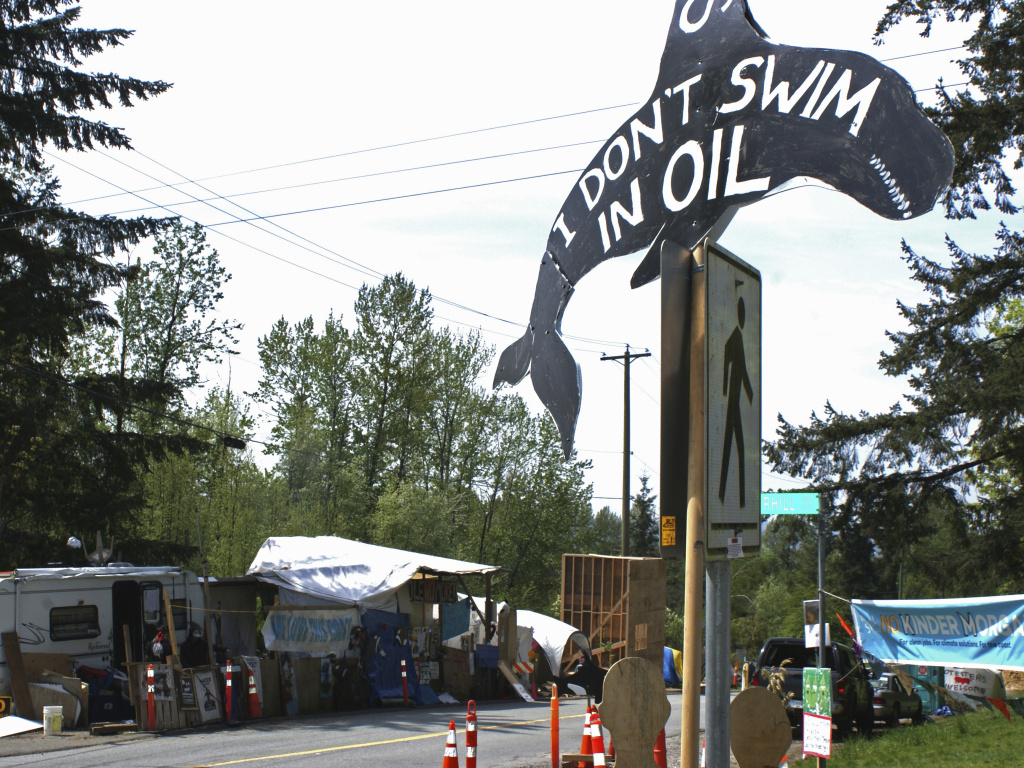 The expansion of the Trans Mountain pipeline has seen significant opposition, such as this camp set up by demonstrators in Vancouver, Canada, in 2018.