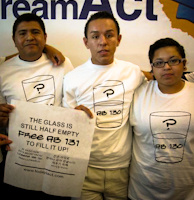 A group of young people showing their support for AB 131, the other half of the California DREAM Act, as Governor Jerry Brown signed AB 130 into law today.