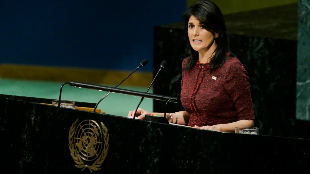 U.S. Ambassador to the U.N. Nikki Haley addresses the General Assembly prior to the body's censure vote on Jerusalem on Thursday.