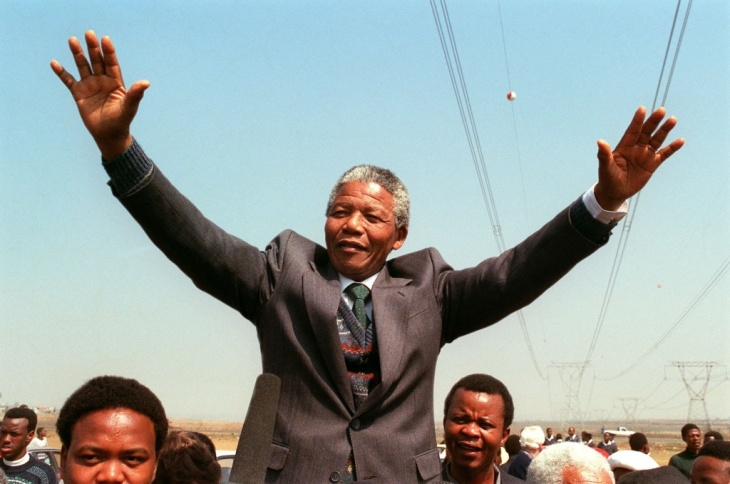South African National Congress President Nelson Mandela addresses in 1990.