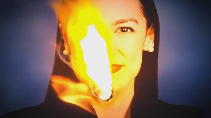 A still frame from an ad that ran during the Democratic candidates debate on Aug. 12. The ad attacked Congresswoman Alexandria Ocasio-Cortez.