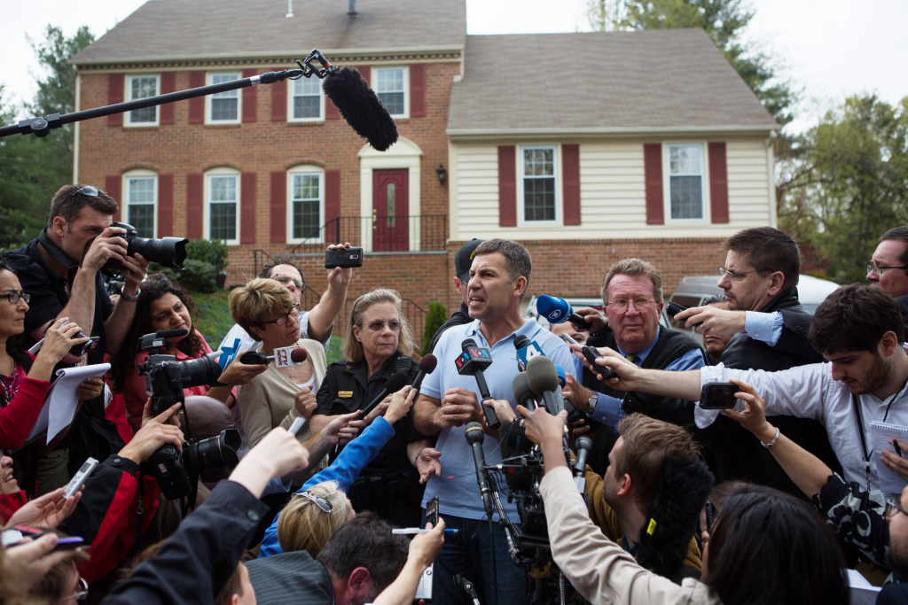 Ruslan Tsarni, uncle of the suspected Boston Marathon bombing suspects, spoke to a sea of reporters in front of his home April 19, 2013 in Montgomery Village, Maryland.