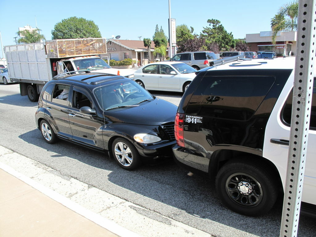 An alleged drunken driver smacked into this sheriff's patrol vehicle in Lomita over the Cinco de Mayo weekend.