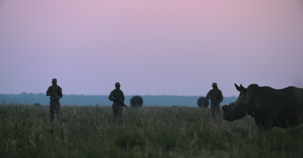 An armed private security team patrols amongst some of John Hume's 1500 rhinos in Buffalo Dream Ranch, North West Province, South Africa in 2016.