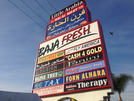 A sign along Brookhurst Street in Anaheim, in the heart of the neighborhood unofficially known as Little Arabia. The U.S. Census Bureau is weighing a new category to use for Arab Americans in 2020.