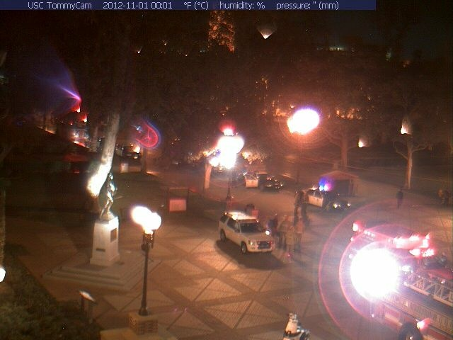 A screenshot from USC's TommyCam shows police sealing off the area where at least 4 people were shot Wednesday night.