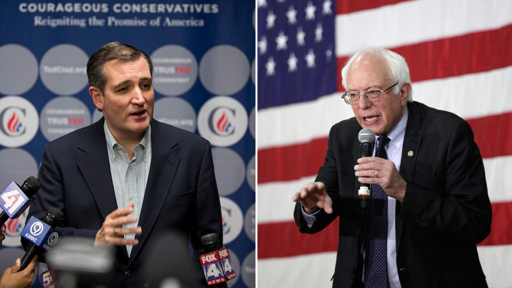 Republican Ted Cruz (left) addresses the media after a campaign rally earlier this month in Kansas City, Mo.; Democrat Bernie Sanders speaks at a town hall event last week in Milwaukee. Polls ahead of Tuesday's Wisconsin primary contests gave Cruz and Sanders narrow leads.