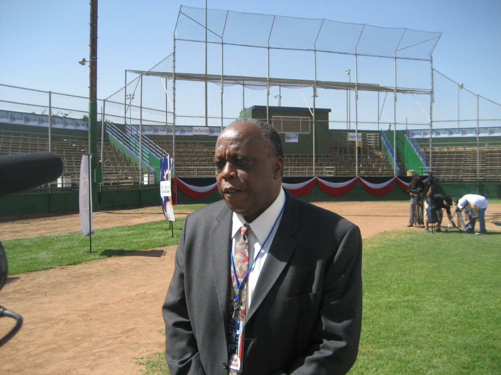 John Young of Reviving Baseball in Inner Cities at Jackie Robinson Stadium in Compton's Gonzales Park.