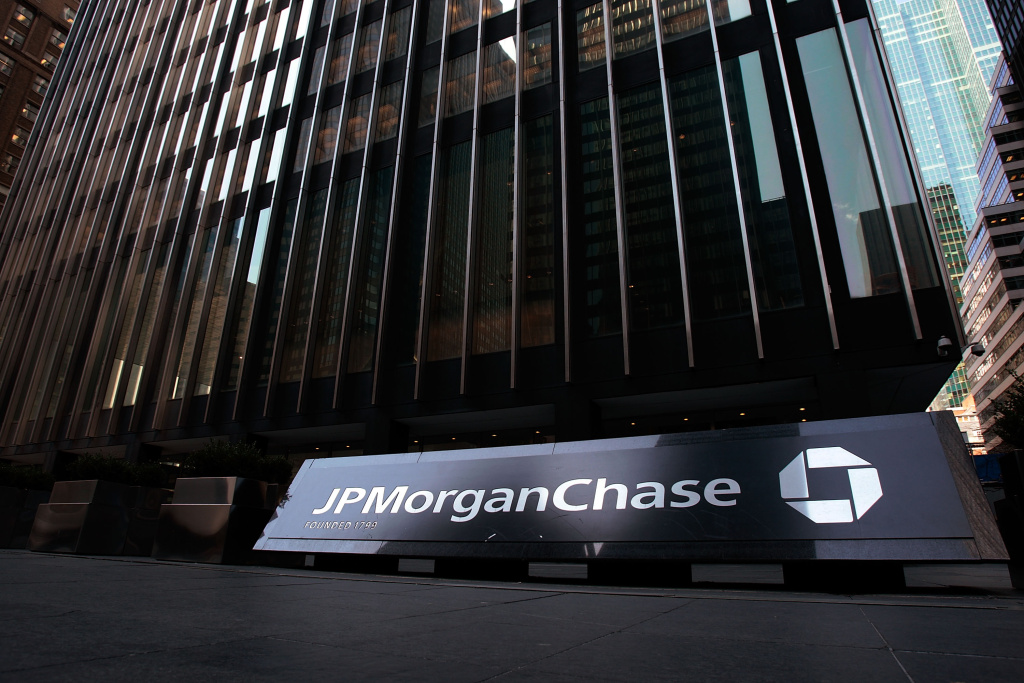 The JP Morgan Chase building is seen March 24, 2008 in New York City.